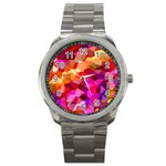 Geometric Fall Pattern Sport Metal Watch Front