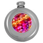 Geometric Fall Pattern Round Hip Flask (5 oz) Front
