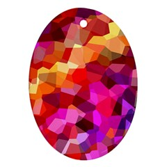 Geometric Fall Pattern Oval Ornament (Two Sides)