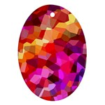 Geometric Fall Pattern Oval Ornament (Two Sides) Front
