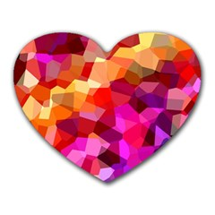 Geometric Fall Pattern Heart Mousepads