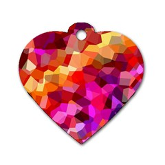 Geometric Fall Pattern Dog Tag Heart (Two Sides)