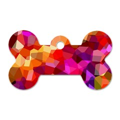 Geometric Fall Pattern Dog Tag Bone (Two Sides)
