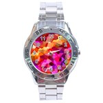 Geometric Fall Pattern Stainless Steel Analogue Watch Front