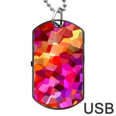 Geometric Fall Pattern Dog Tag USB Flash (One Side)