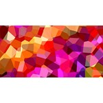 Geometric Fall Pattern Twin Hearts 3D Greeting Card (8x4) Back