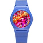 Geometric Fall Pattern Round Plastic Sport Watch (S) Front