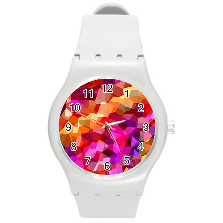 Geometric Fall Pattern Round Plastic Sport Watch (M)