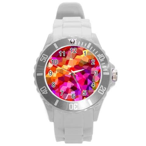 Geometric Fall Pattern Round Plastic Sport Watch (L)