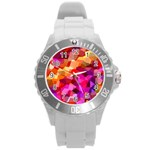 Geometric Fall Pattern Round Plastic Sport Watch (L) Front