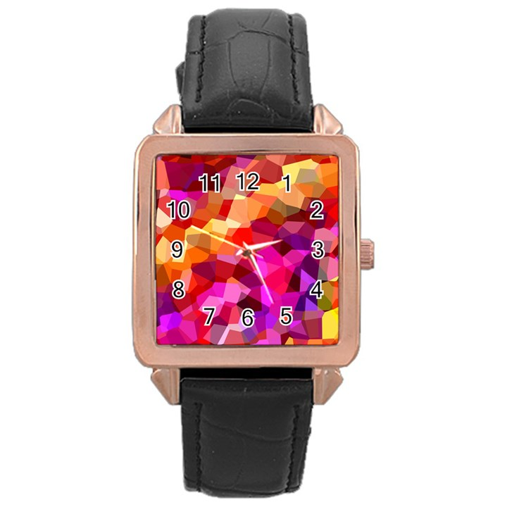 Geometric Fall Pattern Rose Gold Leather Watch
