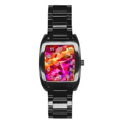 Geometric Fall Pattern Stainless Steel Barrel Watch