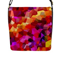 Geometric Fall Pattern Flap Messenger Bag (L)