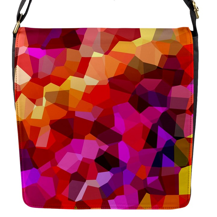 Geometric Fall Pattern Flap Messenger Bag (S)