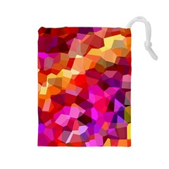 Geometric Fall Pattern Drawstring Pouches (large)