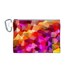 Geometric Fall Pattern Canvas Cosmetic Bag (M)