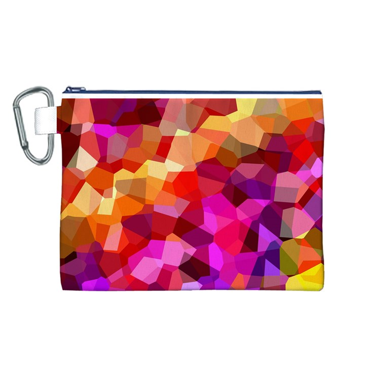 Geometric Fall Pattern Canvas Cosmetic Bag (L)