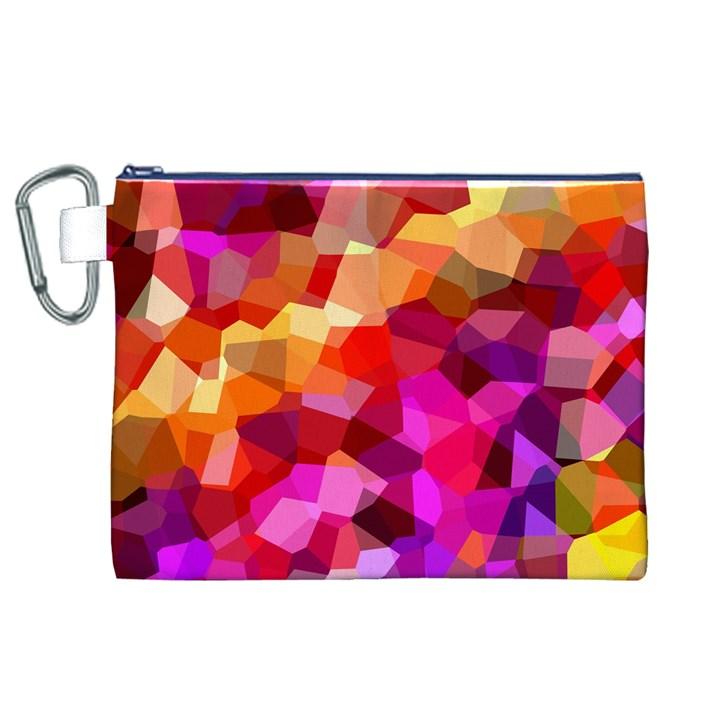 Geometric Fall Pattern Canvas Cosmetic Bag (XL)