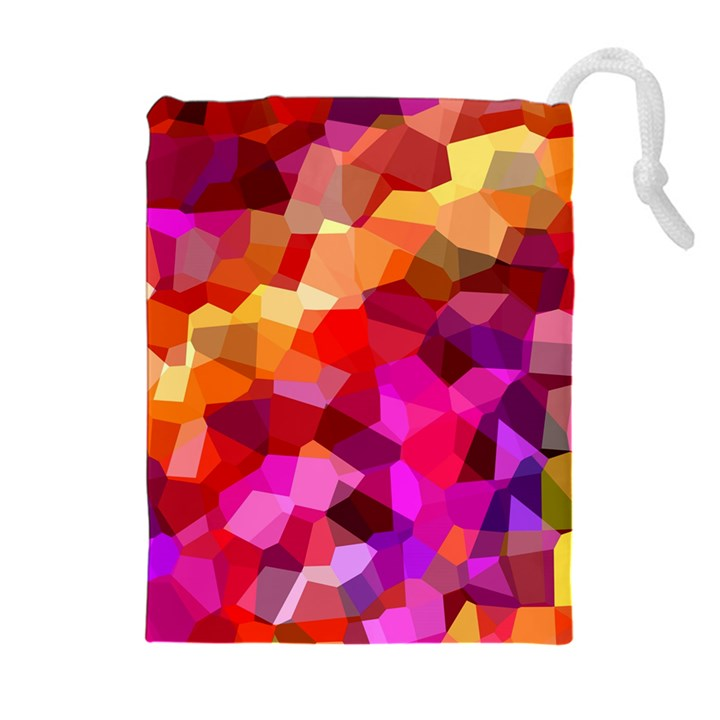 Geometric Fall Pattern Drawstring Pouches (Extra Large)