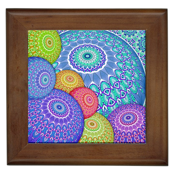 India Ornaments Mandala Balls Multicolored Framed Tiles