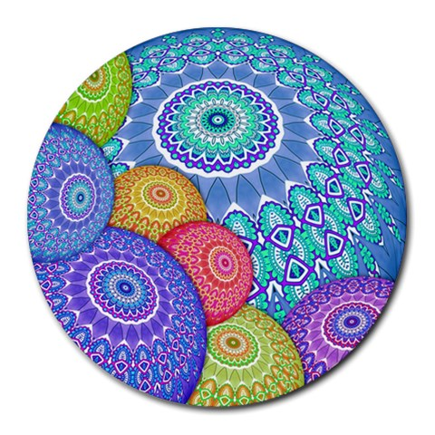 India Ornaments Mandala Balls Multicolored Round Mousepads