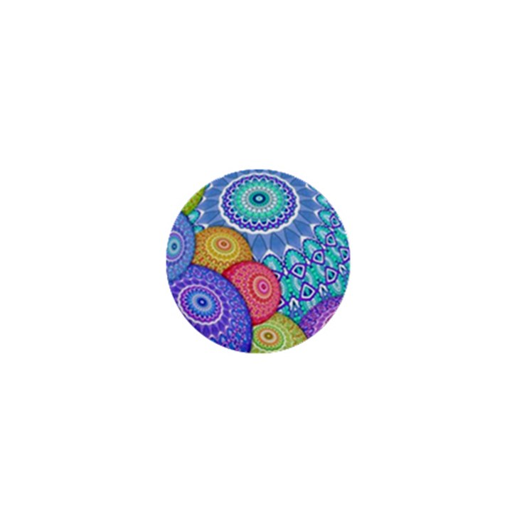 India Ornaments Mandala Balls Multicolored 1  Mini Buttons