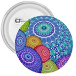 India Ornaments Mandala Balls Multicolored 3  Buttons Front