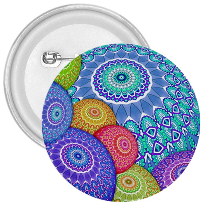 India Ornaments Mandala Balls Multicolored 3  Buttons