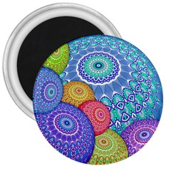 India Ornaments Mandala Balls Multicolored 3  Magnets