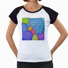India Ornaments Mandala Balls Multicolored Women s Cap Sleeve T