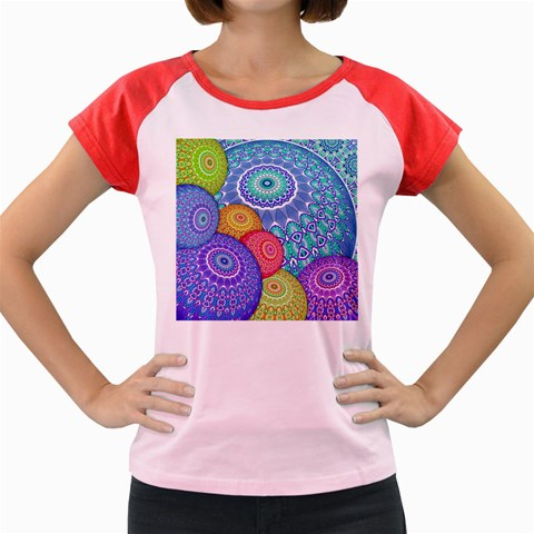 India Ornaments Mandala Balls Multicolored Women s Cap Sleeve T-Shirt