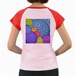India Ornaments Mandala Balls Multicolored Women s Cap Sleeve T-Shirt Back