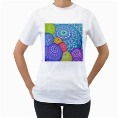 India Ornaments Mandala Balls Multicolored Women s T Shirt (white) (two Sided)