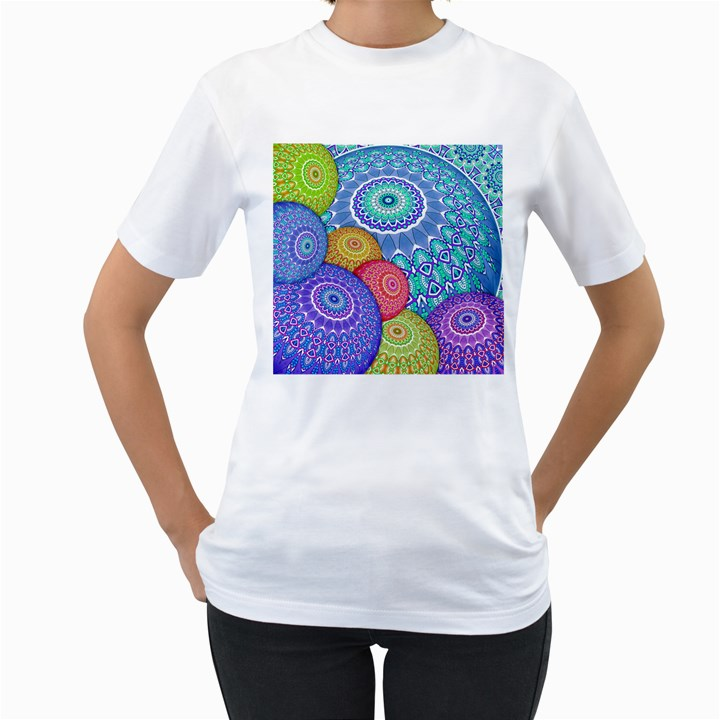 India Ornaments Mandala Balls Multicolored Women s T-Shirt (White) (Two Sided)