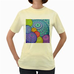 India Ornaments Mandala Balls Multicolored Women s Yellow T Shirt