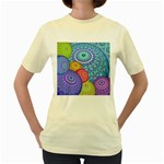 India Ornaments Mandala Balls Multicolored Women s Yellow T-Shirt Front