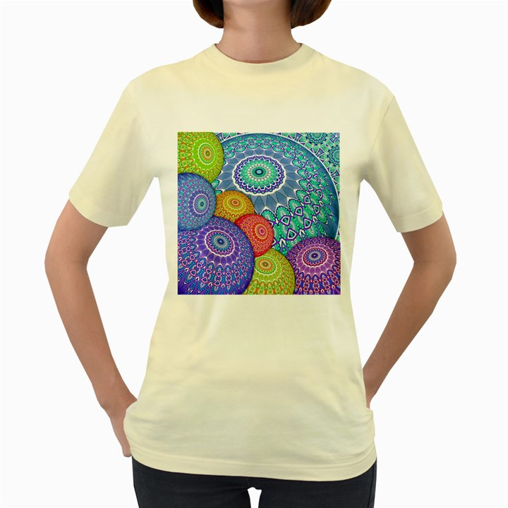 India Ornaments Mandala Balls Multicolored Women s Yellow T-Shirt