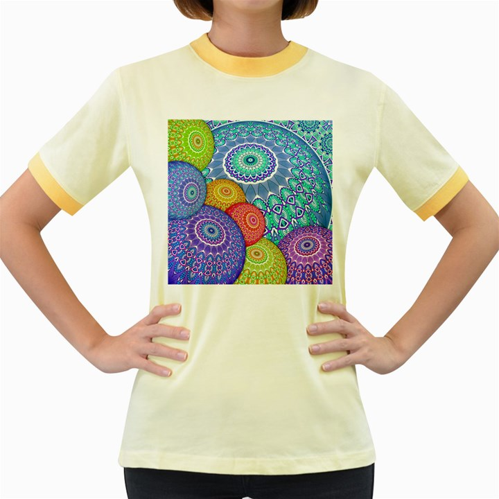 India Ornaments Mandala Balls Multicolored Women s Fitted Ringer T-Shirts