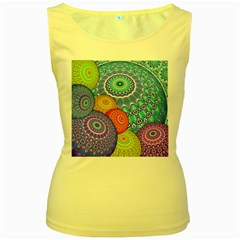 India Ornaments Mandala Balls Multicolored Women s Yellow Tank Top