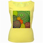 India Ornaments Mandala Balls Multicolored Women s Yellow Tank Top Front