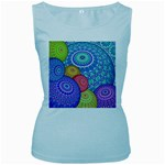 India Ornaments Mandala Balls Multicolored Women s Baby Blue Tank Top Front