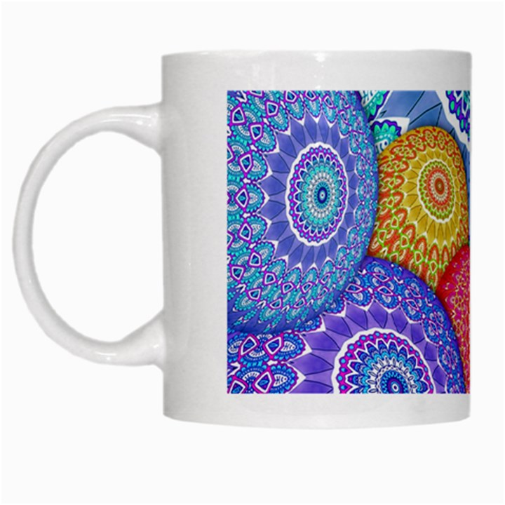 India Ornaments Mandala Balls Multicolored White Mugs