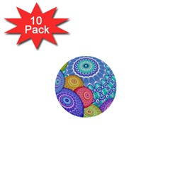 India Ornaments Mandala Balls Multicolored 1  Mini Buttons (10 Pack)