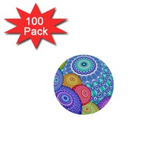 India Ornaments Mandala Balls Multicolored 1  Mini Buttons (100 Pack)