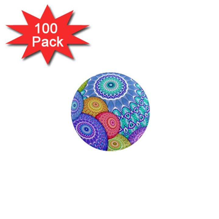 India Ornaments Mandala Balls Multicolored 1  Mini Magnets (100 pack)
