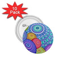 India Ornaments Mandala Balls Multicolored 1 75  Buttons (10 Pack)