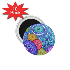 India Ornaments Mandala Balls Multicolored 1 75  Magnets (10 Pack)