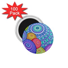 India Ornaments Mandala Balls Multicolored 1 75  Magnets (100 Pack)