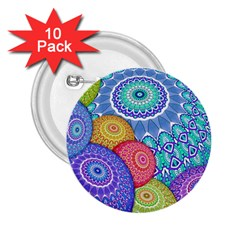 India Ornaments Mandala Balls Multicolored 2 25  Buttons (10 Pack)