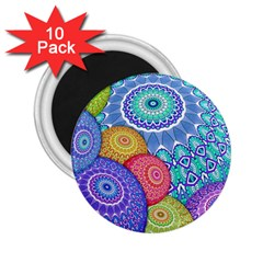 India Ornaments Mandala Balls Multicolored 2 25  Magnets (10 Pack)